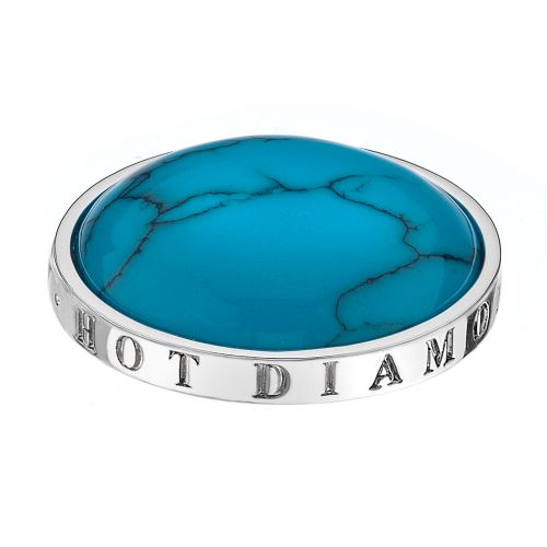 Hot Diamonds Emozioni Silver Plated Stainless Steel Turquoise Coin - Large 33mm EC006